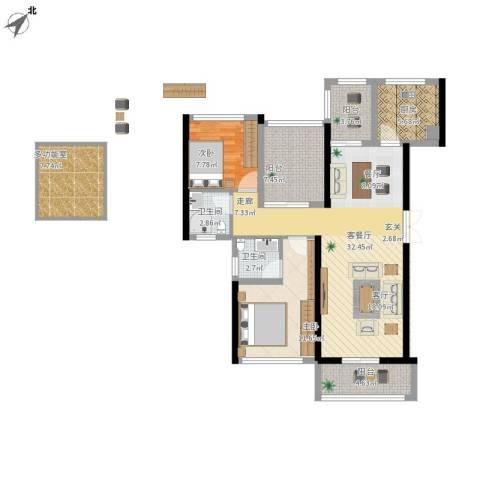 景湖荣郡2室1厅2卫1厨125.00㎡户型图