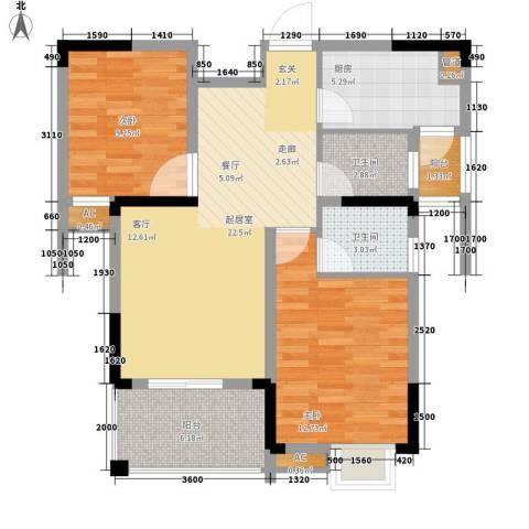 鸣宇锦程2室0厅2卫1厨81.00㎡户型图