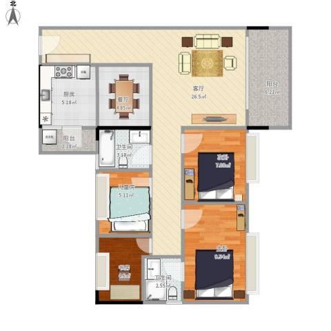 平湖秋月三期4室2厅2卫1厨105.00㎡户型图