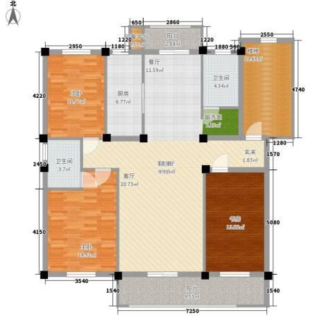 山水人家小区3室1厅2卫1厨139.00㎡户型图