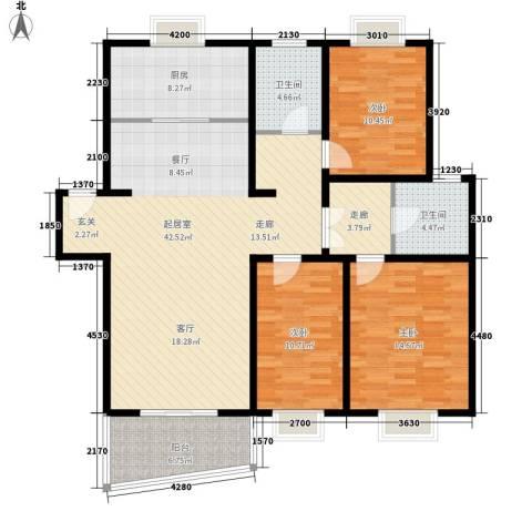 恒通花园3室0厅2卫1厨148.00㎡户型图