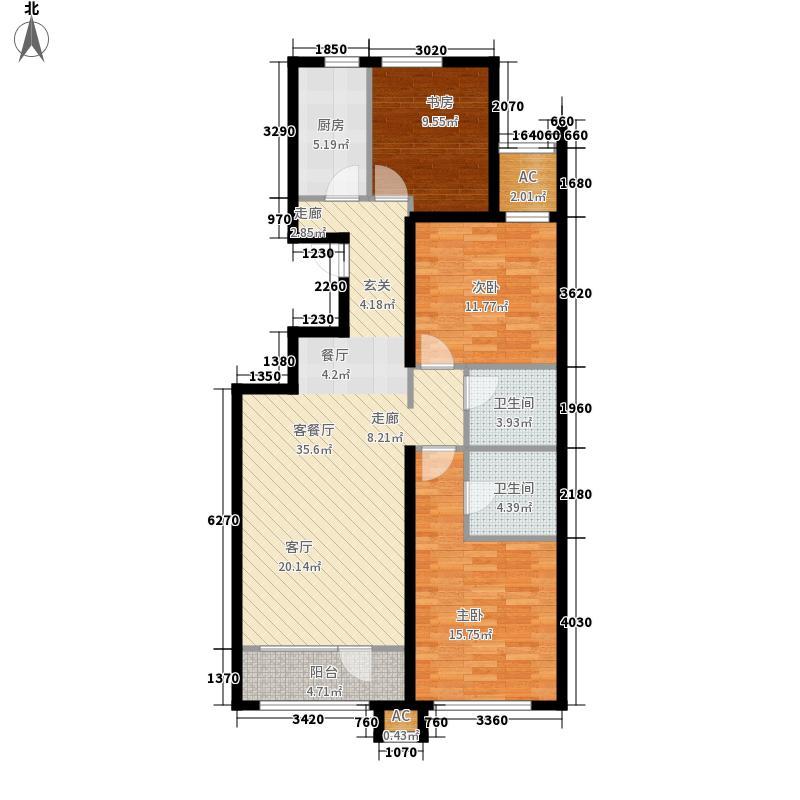 亿城堂庭120.38㎡一期电梯洋房18号楼标准层Q户型