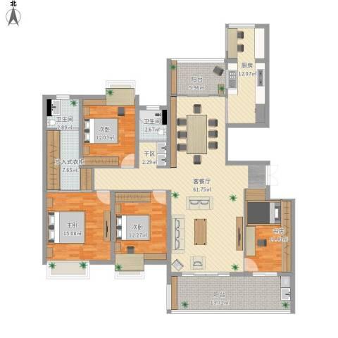 恒基誉珑岛3室1厅2卫1厨205.00㎡户型图