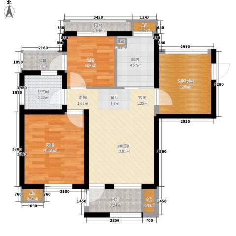 亿城新天地二期2室0厅1卫1厨69.00㎡户型图