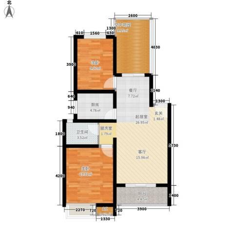 鸣宇锦程2室0厅1卫1厨83.00㎡户型图