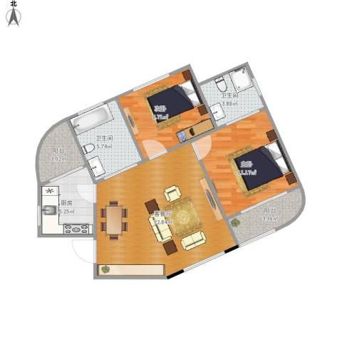 东方明珠大宁公寓2室1厅2卫1厨95.00㎡户型图
