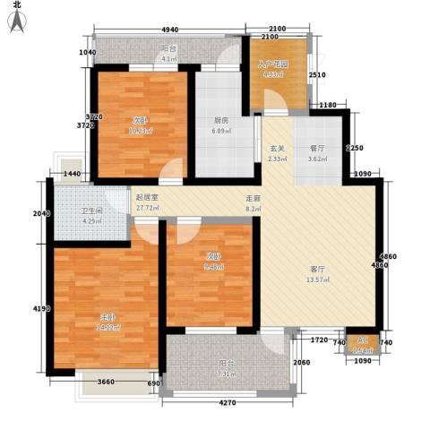 亿城新天地二期3室0厅1卫1厨103.00㎡户型图