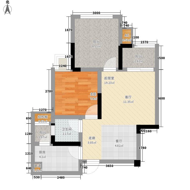 泽京Ta时代54.00㎡一期1号楼标准层C2户型