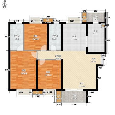 恒基雍景新城3室0厅2卫1厨129.00㎡户型图