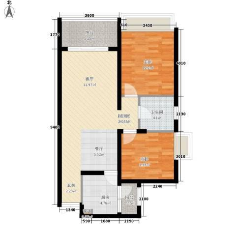 鲁能星城四街区2室0厅1卫1厨94.00㎡户型图