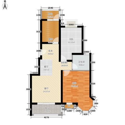 太湖郡2室0厅1卫1厨87.00㎡户型图