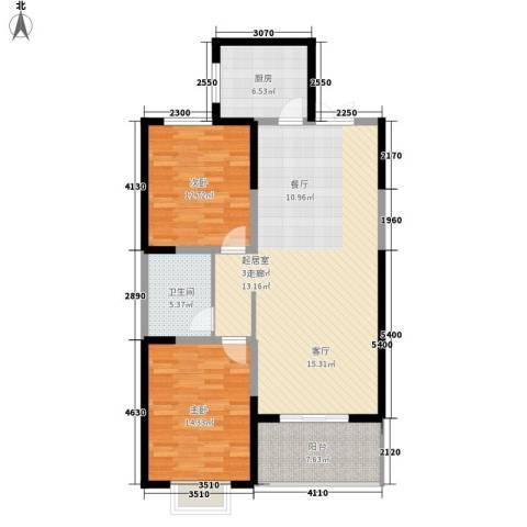 高新华府2室0厅1卫1厨97.00㎡户型图