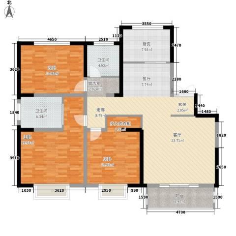 高新华府3室0厅2卫1厨136.00㎡户型图