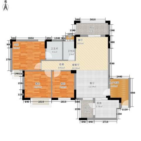 皇冠花园3室1厅2卫1厨130.00㎡户型图
