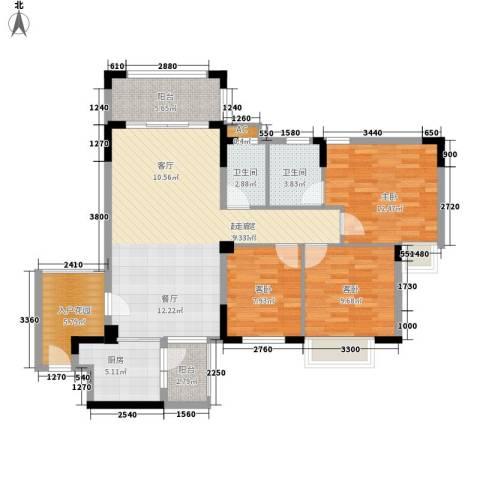 皇冠花园3室0厅2卫1厨127.00㎡户型图