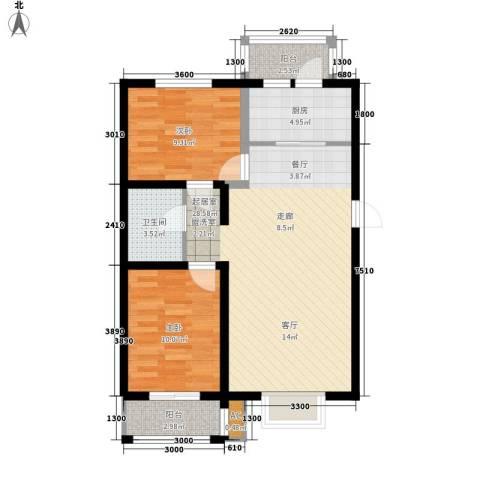 阳光嘉城三期2室0厅1卫1厨72.36㎡户型图