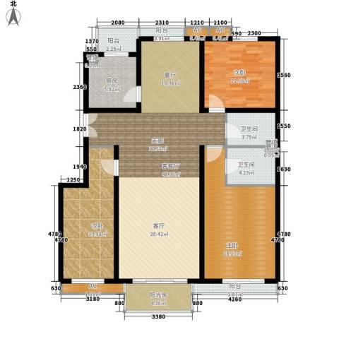 利景华庭3室1厅2卫1厨118.16㎡户型图