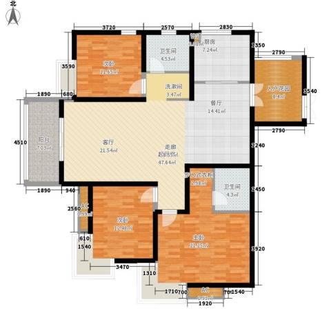 都市花园3室0厅2卫1厨145.00㎡户型图