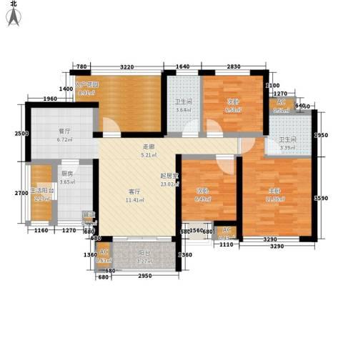 鲁能星城十街区3室0厅2卫1厨118.00㎡户型图