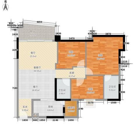 东裕广场3室1厅2卫1厨148.00㎡户型图