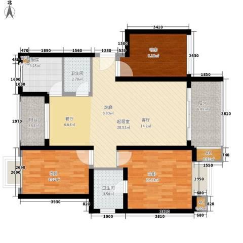 水天一色3室0厅2卫1厨90.00㎡户型图