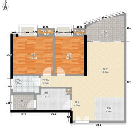 理想蓝堡国际花园2室1厅1卫1厨83.00㎡户型图