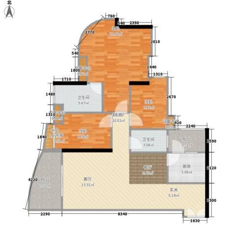 理想蓝堡国际花园3室1厅2卫1厨111.00㎡户型图