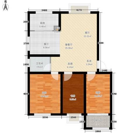 海通・时代康桥1期3室1厅1卫1厨119.00㎡户型图