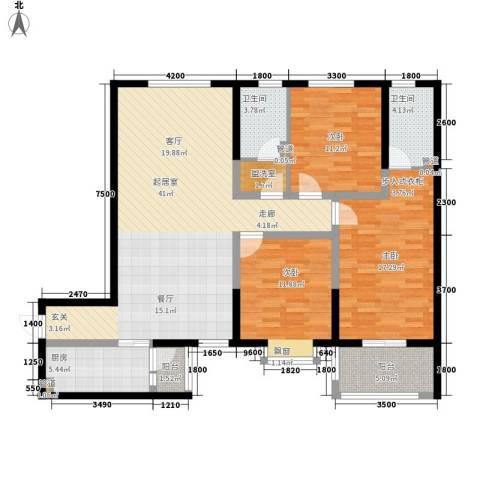 泾渭・馨佳苑3室0厅2卫1厨137.00㎡户型图