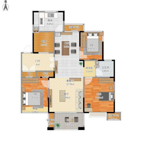 山湖湾3室1厅1卫1厨115.00㎡户型图