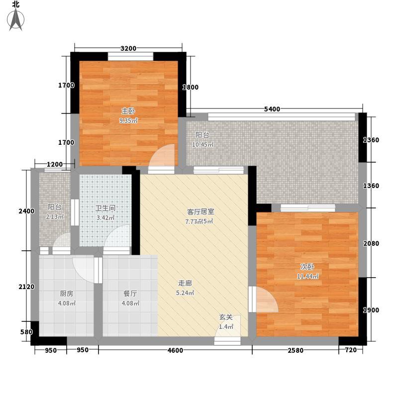 观南城65.52㎡一期2号楼标准层D户型