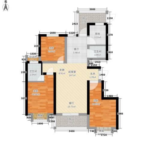 滨水香苑3室0厅2卫1厨100.00㎡户型图