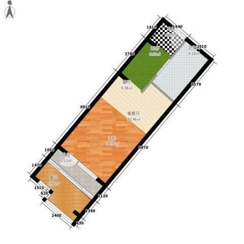 山海国际1厅1卫0厨66.00㎡户型图