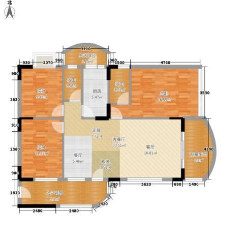 丽湾花园3室1厅0卫1厨125.00㎡户型图