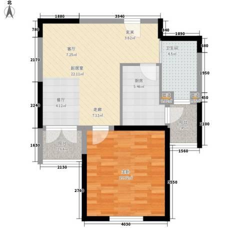 天保月湾1室0厅1卫1厨61.00㎡户型图