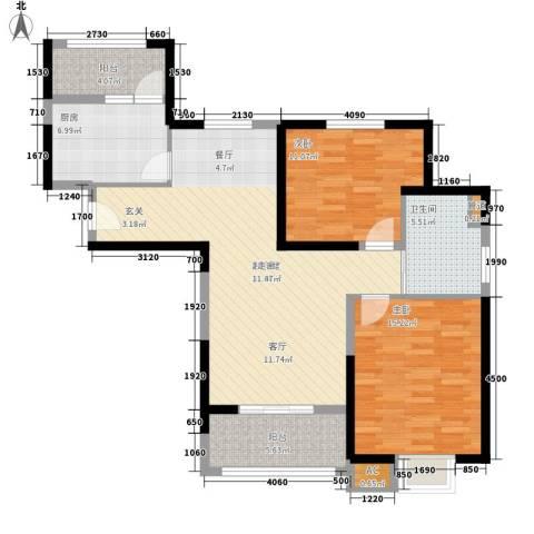 天保月湾2室0厅1卫1厨92.00㎡户型图