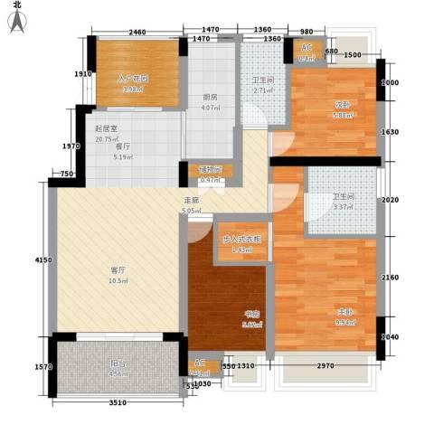 经济电视台宿舍3室0厅2卫1厨75.00㎡户型图