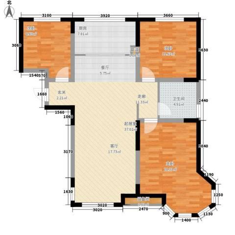 红叶山庄3室0厅1卫1厨125.00㎡户型图