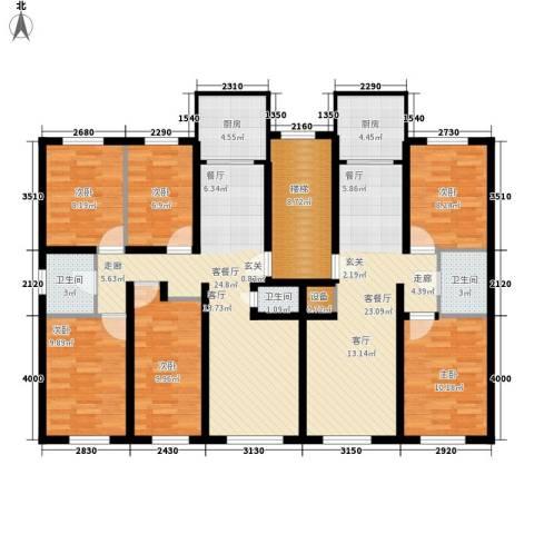 百花小区6室2厅3卫2厨151.00㎡户型图