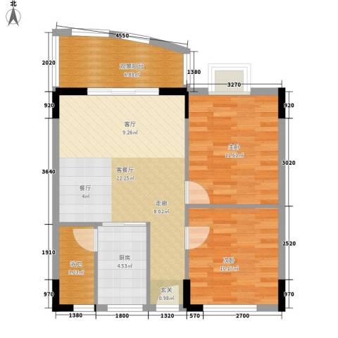 丽湾花园2室1厅0卫1厨76.00㎡户型图