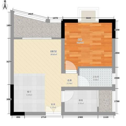 渝安龙都1室0厅1卫1厨45.00㎡户型图