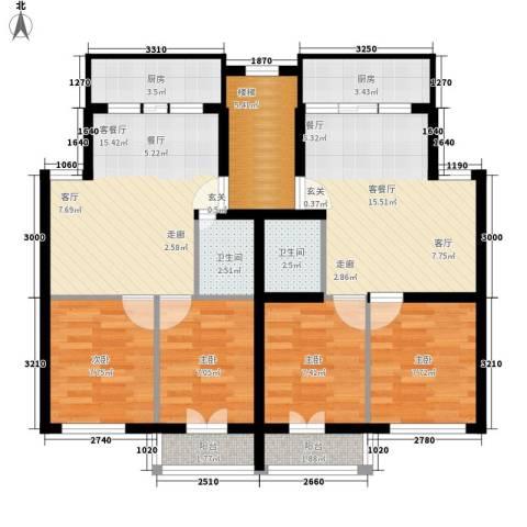 百花小区4室2厅2卫2厨97.00㎡户型图