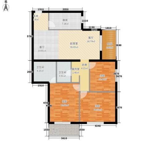 田村路北小区3室0厅2卫1厨117.00㎡户型图