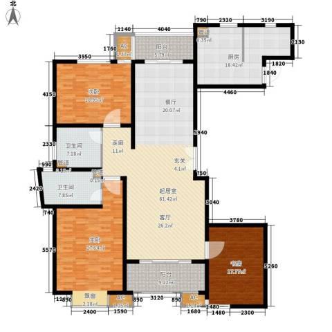 虹口现代公寓3室0厅2卫1厨200.00㎡户型图