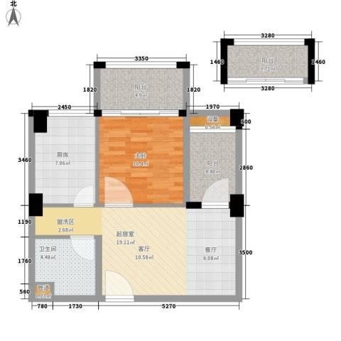 美洲花园E区2期1室0厅1卫1厨57.00㎡户型图