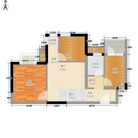 美洲花园E区2期2室0厅1卫1厨61.00㎡户型图