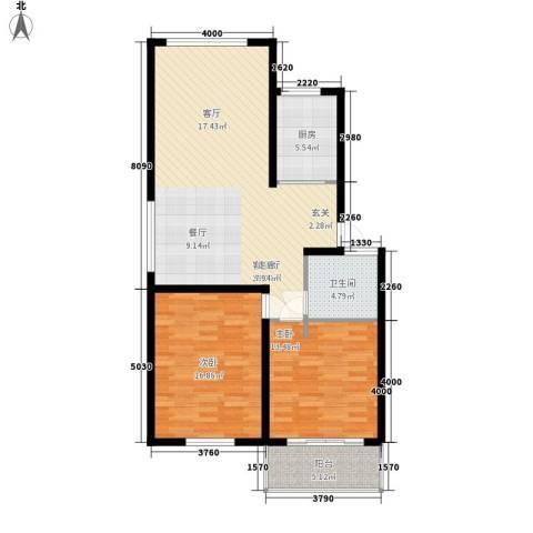 山水人家小区2室1厅1卫1厨92.00㎡户型图