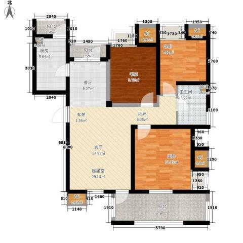 亿城新天地二期3室0厅1卫1厨100.00㎡户型图