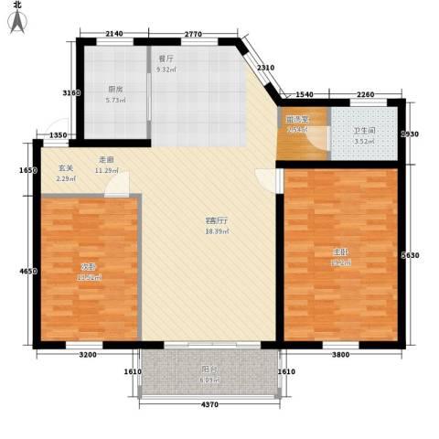 山水人家小区2室1厅1卫1厨100.00㎡户型图