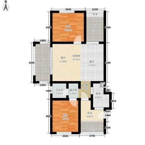 盈滨海湾雨林2室0厅1卫1厨87.00㎡户型图